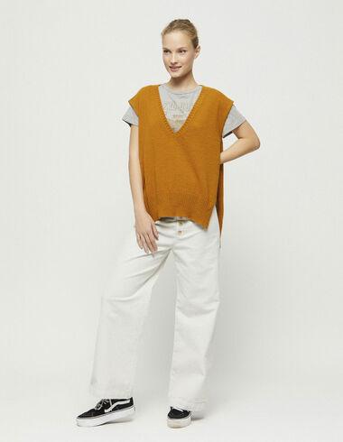 Pantalon boutonné en velours côtelé écru - New in - Nícoli