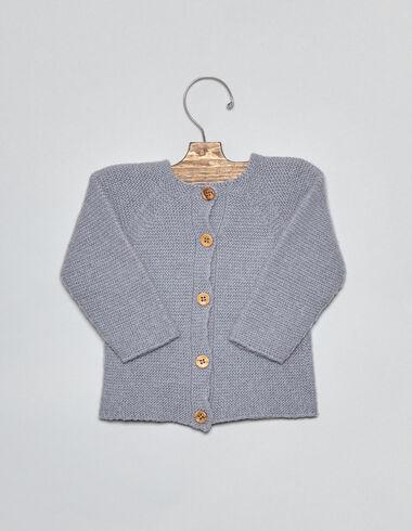 Gilet lavande point jersey pour bébés - Cardigans - Nícoli
