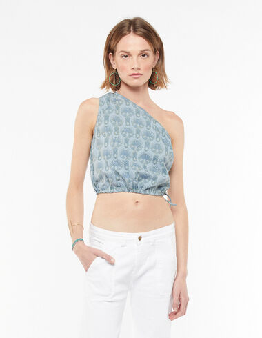 Asymmetric blue herringbone top - Blouses and Tops - Nícoli