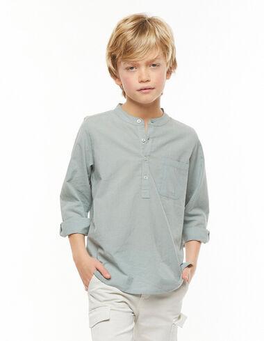 Chemise col Mao poche vert clair - Chemises - Nícoli