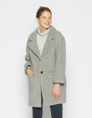 Girls' light grey shearling coat - View all > - Nícoli