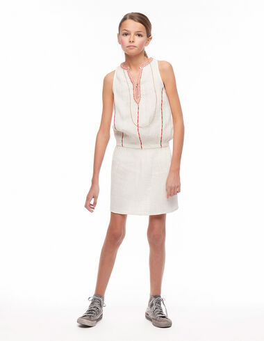 Vestido bordados gomitas blanco - Pink & White - Nícoli