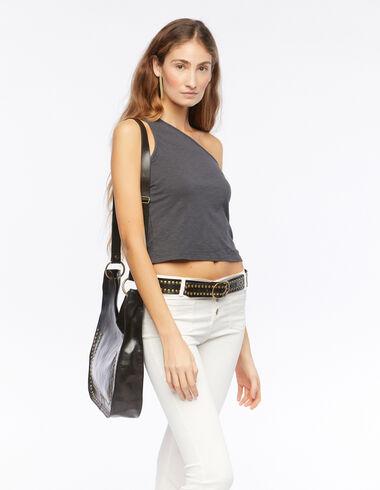 Camiseta asimétrica sin mangas antracita - Camisetas - Nícoli