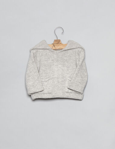 Light grey hooded baby cardigan - View all > - Nícoli