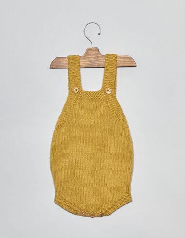 Mustard knit baby romper - Playsuits & Dungarees - Nícoli