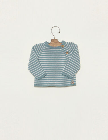 Light blue striped jumper with buttons - Jumpers & Sweatshirts - Nícoli