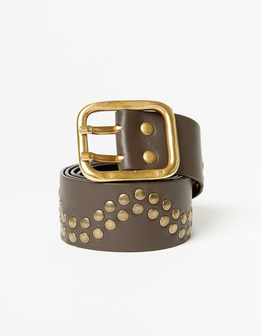 Brown suede belt with circles - Accesories - Nícoli