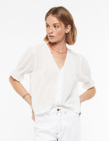 White V-neck pin-tuck shirt - The B&W Dress - Nícoli