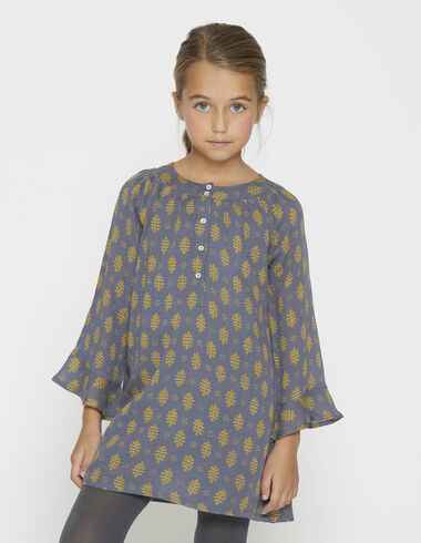 Girl's mustard buti round neck dress - View all > - Nícoli
