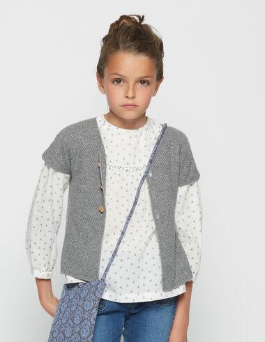 Girl's grey short-sleeved cardigan - Cardigans - Nícoli