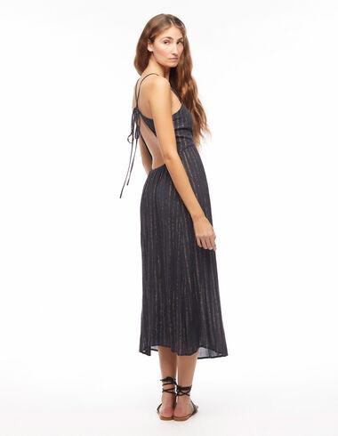 Anthracite crossover back lurex dress - Dresses - Nícoli