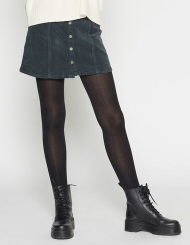 Anthracite corduroy mini skirt with buttons - Skirts - Nícoli