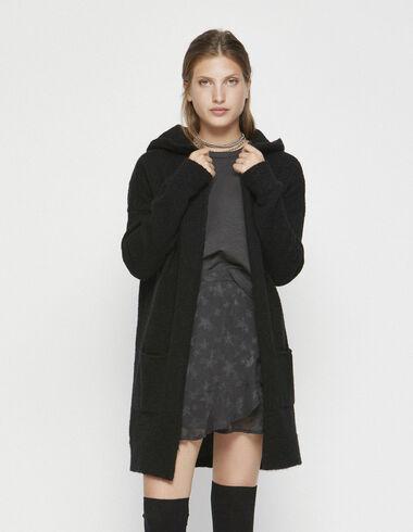 Black hood long jacket - Clothing - Nícoli