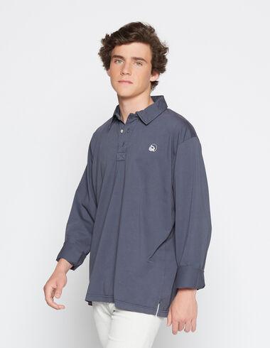Boy's dark blue long-sleeved polo shirt - Polo shirts - Nícoli