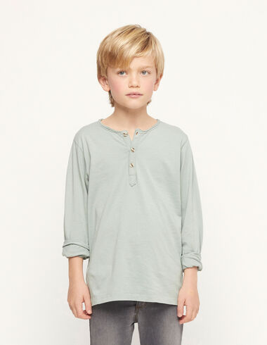 Light green t-shirt with buttons - View all > - Nícoli