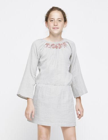 Taupe embroidered drop waist dress - Dresses - Nícoli