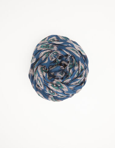 Fichu feuilles bleu - Foulards - Nícoli