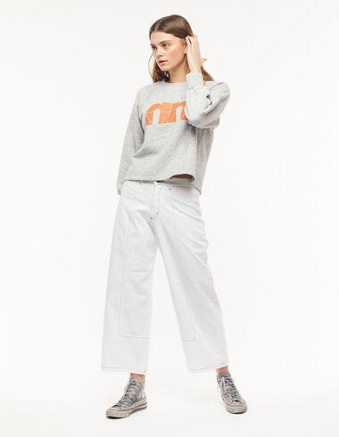 Pantalón ancho pespuntes blanco - New Colour - Nícoli