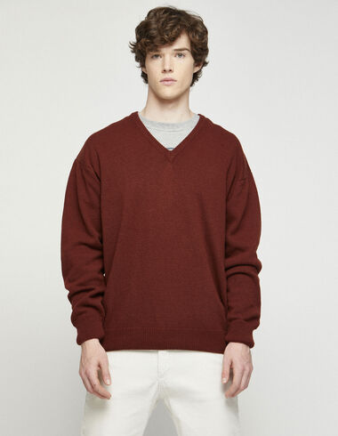 Men´s terracotta v-neck jumper - Jumpers & Sweatshirts - Nícoli