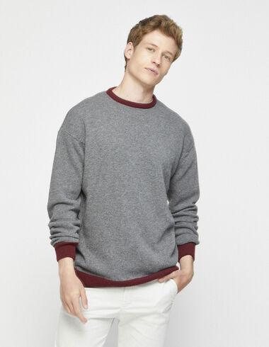 Pull contrasté gris/grenat - Pulls et Sweatshirts - Nícoli