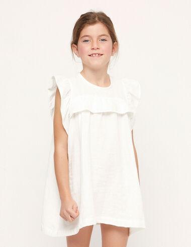 Ecru ruffle shoulder dress - View all > - Nícoli