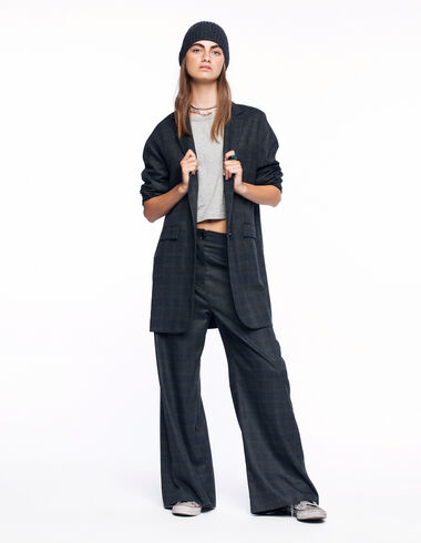 Grey and blue checked wide trousers - View all > - Nícoli