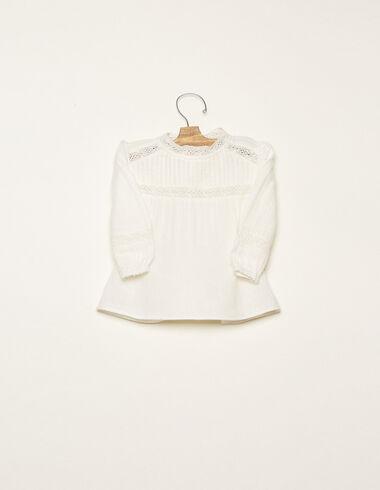 Ecru lace Peter Pan collar round neck pin-tuck shirt - View all > - Nícoli