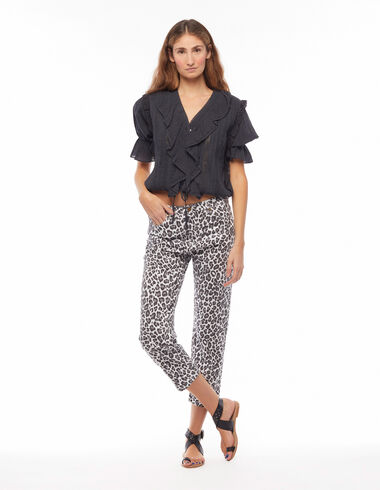 White animal print straight trousers - Trousers - Nícoli
