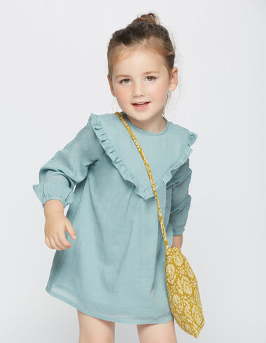 Girl's light green ruffle v-neck dress - View all > - Nícoli