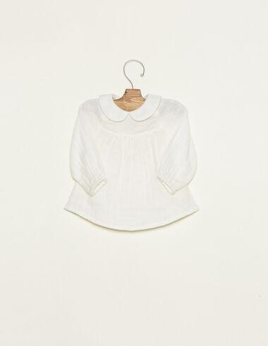 Chemise col bébé manches longues écrue - Chemises - Nícoli