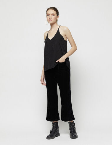 Black velvet pocket trousers - View all > - Nícoli