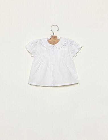 White collar neckline shirt with pintucks - View all > - Nícoli