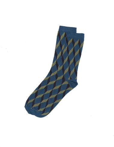 Chaussette print géométrique bleue - All About Socks - Nícoli