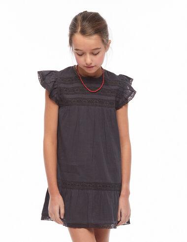 Vestido encajes hombro volante antracita - Black is Back - Nícoli