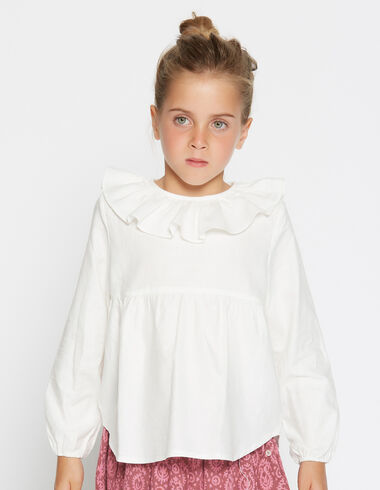 Girl's white ruffle blouse - Shirts - Nícoli
