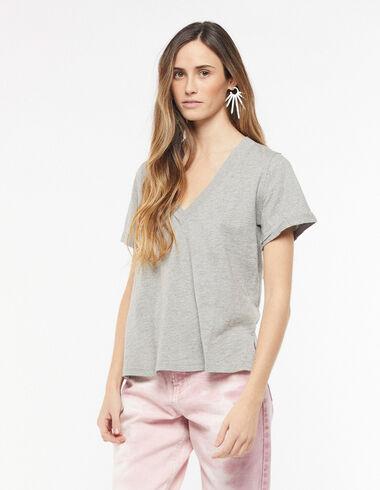 T-shirt col V gris - Tee-shirts - Nícoli