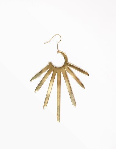 Pendiente sol grande dorado - The B&W Dress - Nícoli
