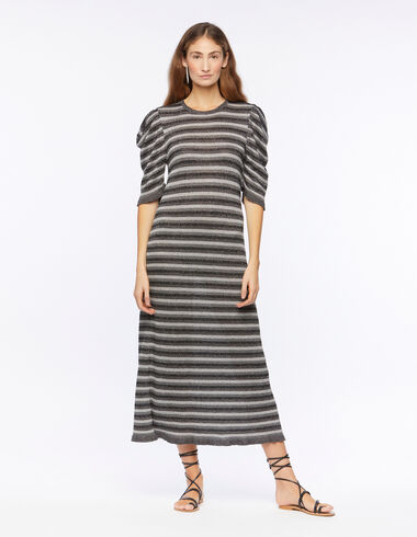 Silver striped puff sleeve dress - Dresses - Nícoli