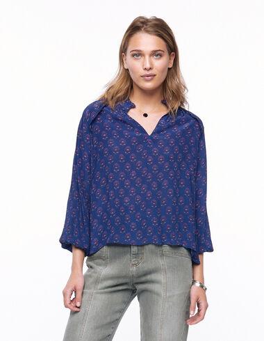 Camisa cuello perkins escote pico flor bicolor mora - Ver todo > - Nícoli