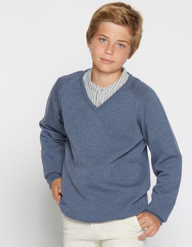 boy's blue denim v-neck sweater - View all > - Nícoli