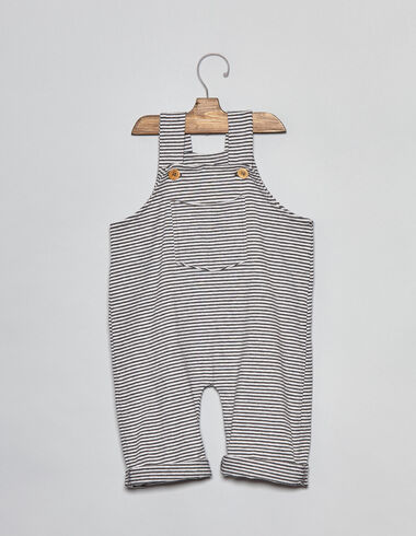 Anthracite striped baby dungarees - View all > - Nícoli
