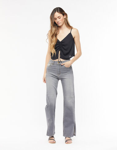 Anthracite wide-leg trousers - Trousers - Nícoli