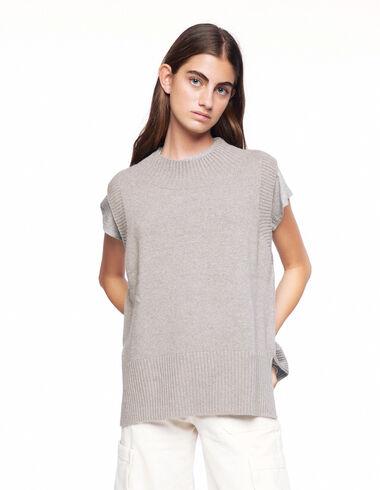 Ecru ribbed neck vest - View all > - Nícoli