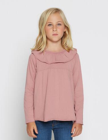 T-shirt court fraise à volants pour petites filles - Voit tout > - Nícoli