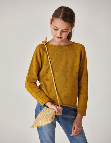 Girl's mustard bobble sweater - Jumpers & Sweatshirts - Nícoli