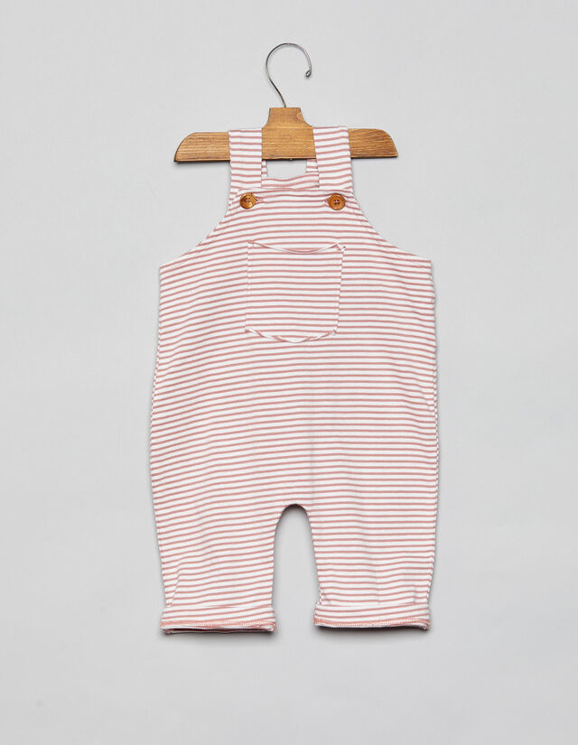 1bf9702ad Pink striped long baby dungarees