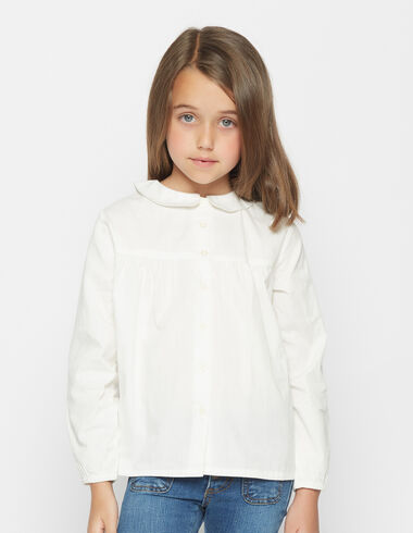 Girl's Peter Pan collar white blouse - Shirts - Nícoli