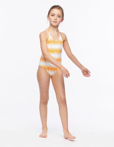 Orange diamond girl's swimsuit - Beach Time - Nícoli