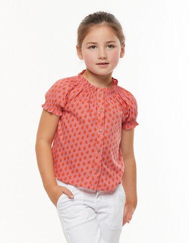 Strawberry leaf print buttoned perkins neckline shirt - Pink & White - Nícoli