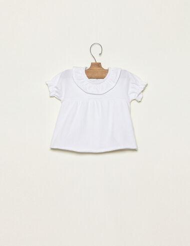 Camiseta cuello volante blanco - Traspasos (se oculta) - Nícoli